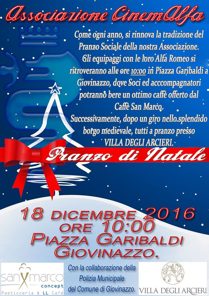 pranzo di natale area sud italia 2016 cinemalfa associazione cinema italia alfa romeo alfisti